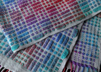 Summer Cobblestones - £150 - 50% silk 50% lambswool. 25 cm wide x 173 cm long